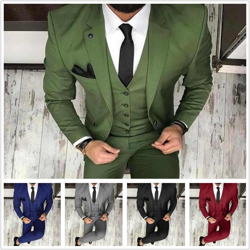 グリーンクラシックフィットノッチラペル新郎タキシード介添人スーツ結婚式パーティースーツブレザー (ジャケット + ベスト + パンツ)