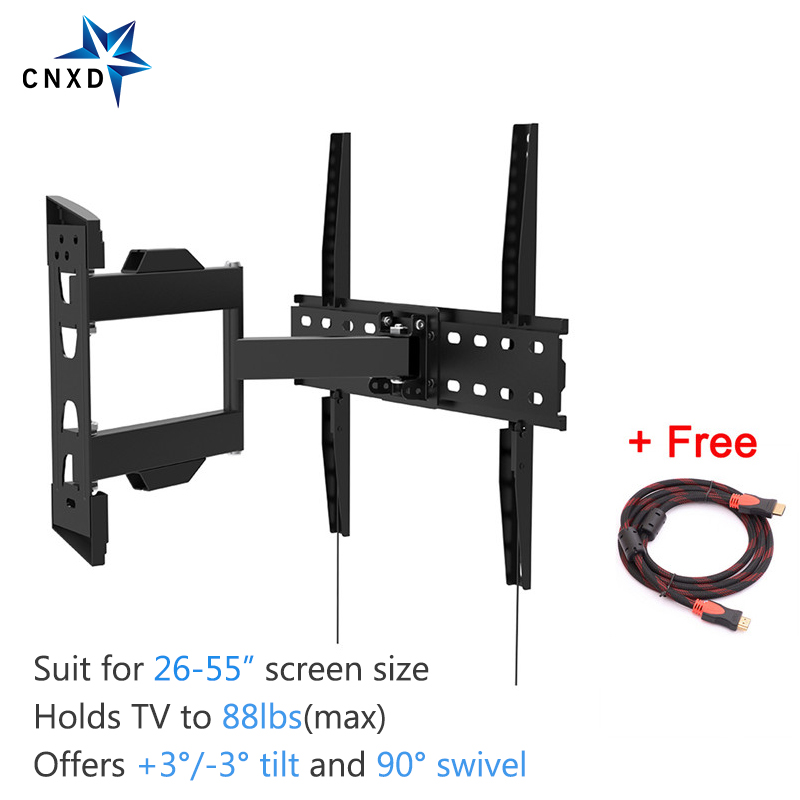 Full Motion Articulando Tilt Swivel TV Wall Mount Bracket para 26-55 LED TV LCD VESA até 400x400 com HDMI Grátis cabo