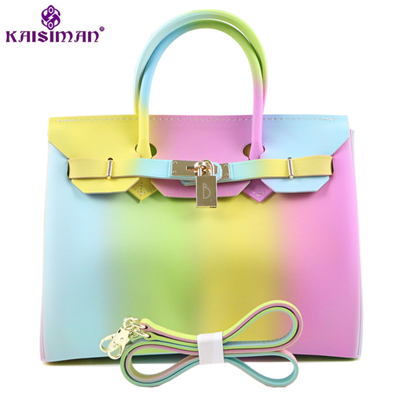 Super Luxury Fashion Rainbow Color Women Tote Bag Platinum Handbag Famous Brand Lock Designer Lady Top-handle Jelly Shoulder Bag luxury designer brand baroque royal handbag runway lady bag purse with handle