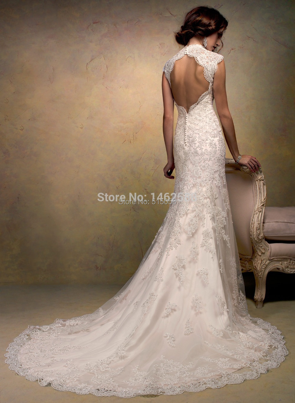 Aliexpress.com : Buy Cap Sleeves Open Back Lace Wedding Dress ...