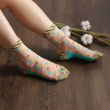 Summer new womens  fashion thin section cool transparent color yarn multicolor dot glass wire socks