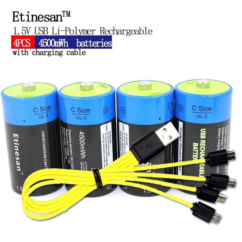 4pcs Etinesan 1.5V 4500MWH li polymeer oplaadbare batterij C formaat batterij, oplaadbare C li ion batterij + USB oplaadkabel-in Vervangende batterijen van Consumentenelektronica op  Groep 1
