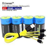 4pcs Etinesan 1.5V 4500MWH li polymer rechargeable battery C size battery, rechargeable C li ion battery + USB charging cable