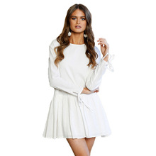 Summer Autumn Long Sleeve Dress Shirt Women 2017 Casual O Neck Solid Pleated Mini Dress Loose Dress Casual Vestido White Beige(China)