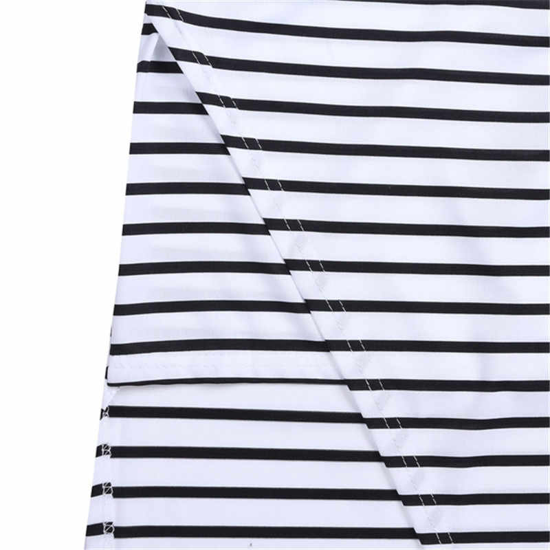 f2eb421142 ... European Style 2015 New Summer Women Beach Skirt Side Split Black White  Stripes Asymmetrical Sexy Long