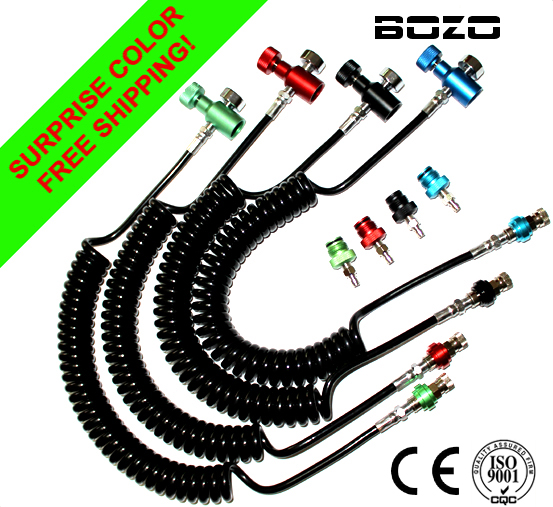 Coil Remote Hose Thick Line 3.5M & 1500psi Gauge WITH Slide Check With Quick Disconnect Multi-color Paintball New Free Shipping