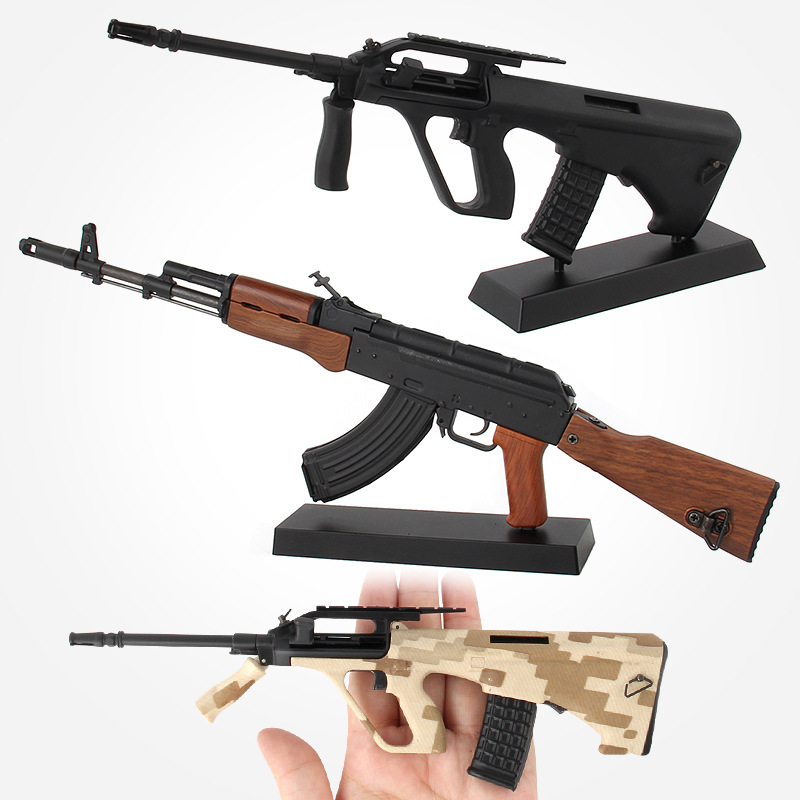 Simulation Assembled Alloy Plastic Military Gun Model Toy DIY Building Blocks Toy Gun with Bullets Boys Gift (Can't Fire)