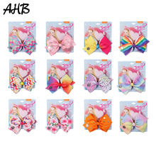 AHB 5 JO Bows Rainbow Unicorn Printed Hair for Girls Handmade Bowknot Ribbon Clips Princess Party Accessories