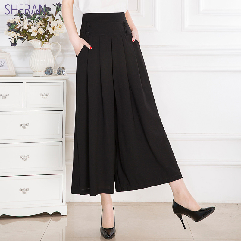 2018 Summer Elegant Women Trousers Casual Loose Chiffon Calf- Length Pleated Skirt Pants Black Wide Leg Ladies Pants Plus Size