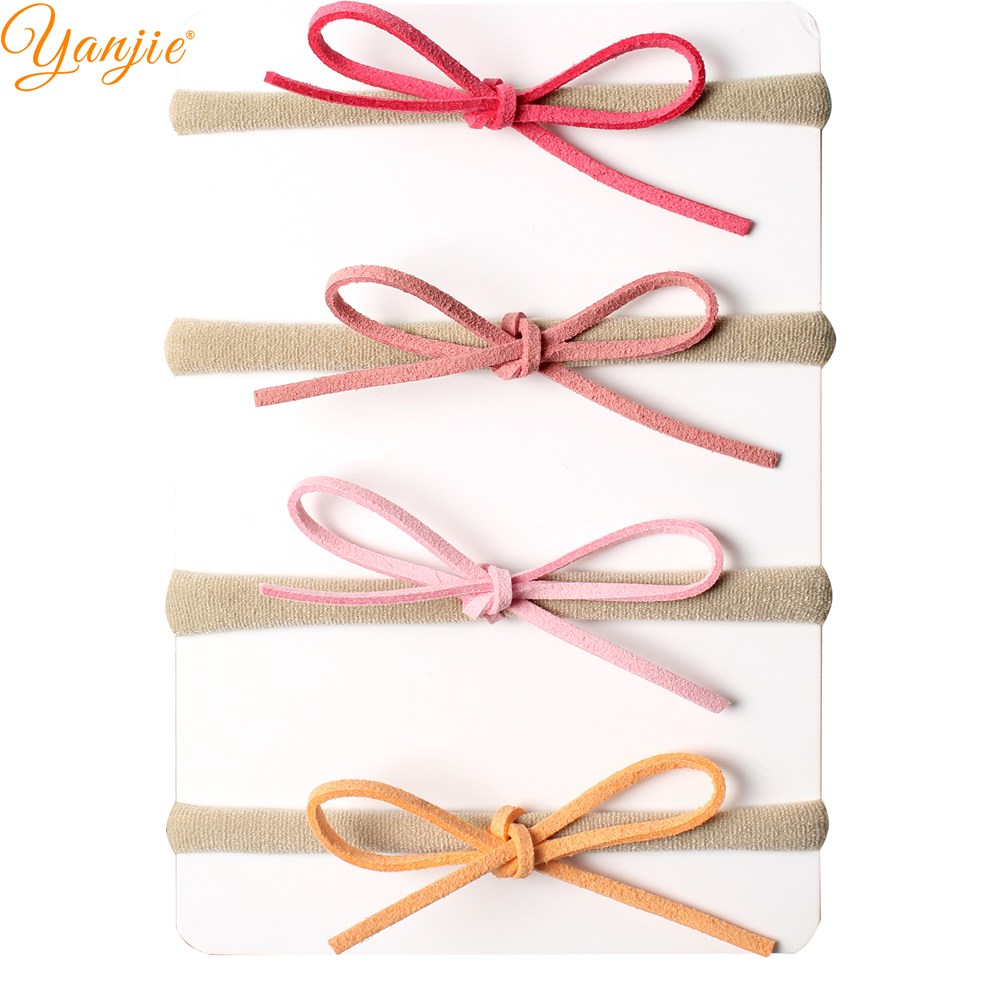4pcs/set Girls Suede Solid Bow Elastic Nylon Headband 2019 Girls And Kids Nylon Headband Hair Bow Girls Hair Accessories