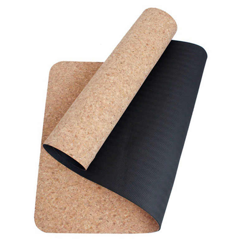 Black Cork Tpe Yoga Mat Eco Friendly Non Slip 183 61cm Pilates