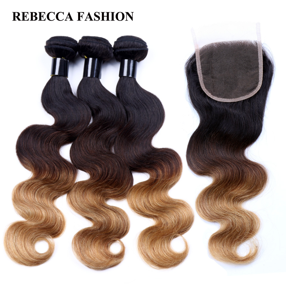 do it yourself rebecca remy human hair 3 bundles with closure rebecca remy human hair 3 bundles with closure ombre body wave brown blonde brazilian hair weave bundles 4x4 lace closure t1b427 solutioingenieria Images