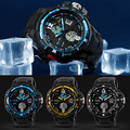 Mens Sport Waterproof Hours  Designer Watches  Digital Analog Dual Time Alarm Date Chronograph Wrist Watch