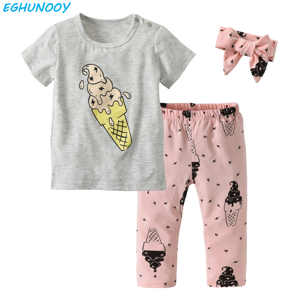 Summer Toddler 3Pcs Outfit Baby Girl Clothes Fashion Ice Cream T-shirt+Pants+Headband Infant Baby Girls Clothing Sets
