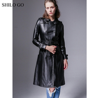 HILO GO Leather Trench Autumn Fashion sheepskin genuine leather long coat lapel metal belt cuff front round rivet black coat