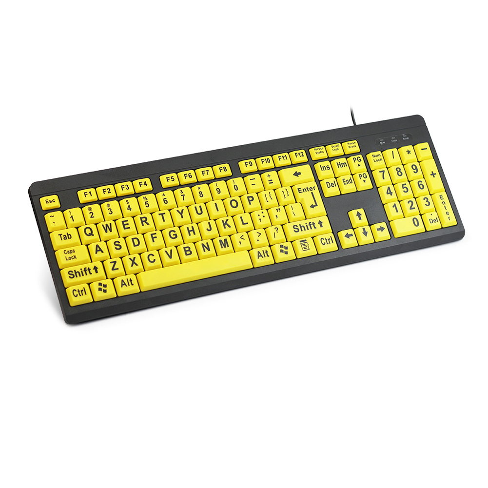 Elderly's Exclusive High Contrast Yellow Keys Black Letter USB Computer Keyboard