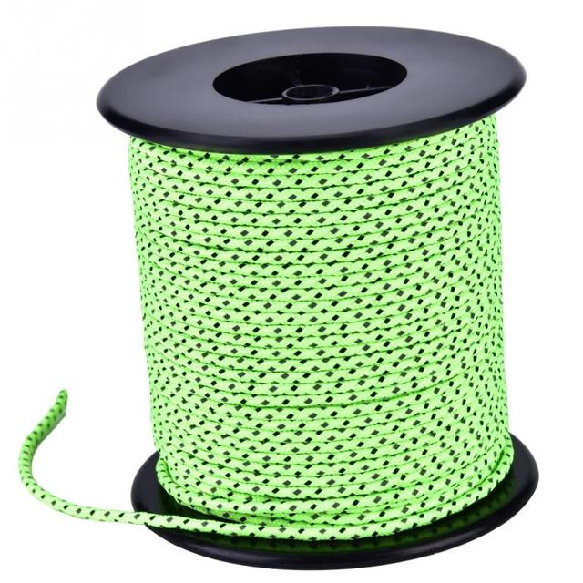50m Camping Tent Polyester + PP Rope Awning Reflective Rope Guy Line Cord Paracord Multifunctional Tent Rope Clothesline