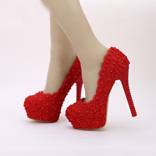 Hot Selling Wedding Shoes Red Lace Flower Platform Bridal Formal Dress Shoes Women Pumps Birthday Party Dance High Heels
