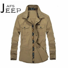 AFS JEEP Autumn Los militares long sleeve Cotton solid cargo Shirt,Chest Real Pockets Patchwork Fly slim leisure overhemd male