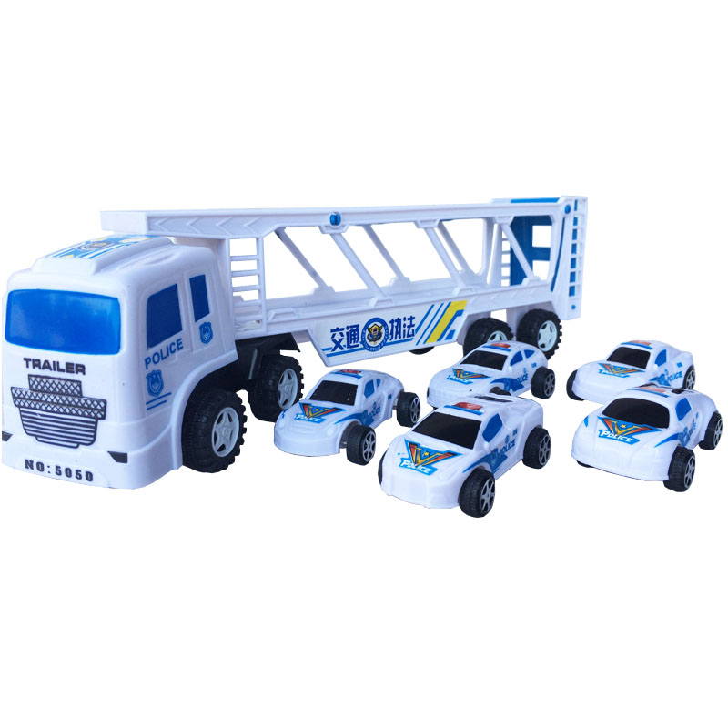 With five small police cars Inertia tractors car double tractors police children's toy car small truck toys image