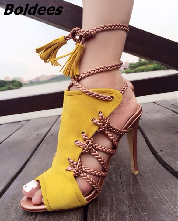 New Arrival Color Matched Suede Rope Style Fringe Sandals Women Classy Peep Toe Stiletto Heel Ankle Lace Up Tassel Dress Sandals цена и фото