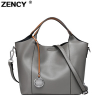 ZENCY Popular Fashion Famous Brand Women Tote Shopping Bags Female Genuine Leather Woman Second Layer Cow