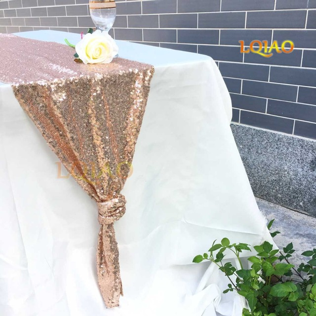New Brand Champagne Rose Gold Silver Sequin Table Runner For Wedding