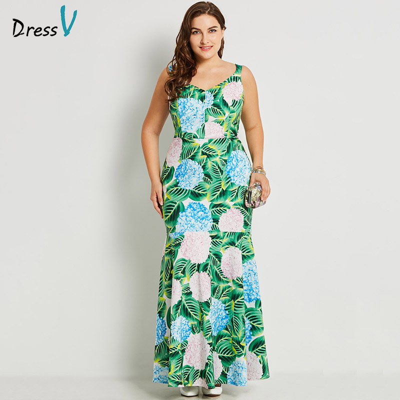 Dressv green v neck plus size evening dress elegant mermaid sleeveless appliques print wedding party formal dress evening dress