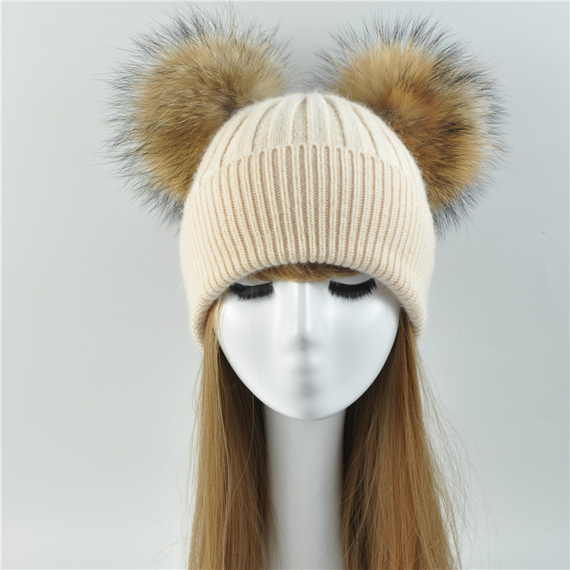 Double Fur Pom Pom Women Winter Hat Female Wool Removable Fur Ball Knitted Beanie Cap with 2 Natural Color Raccoon Fur Pompon fashion women lady faux fur ball crochet knitted hat winter warm beanie chic cap