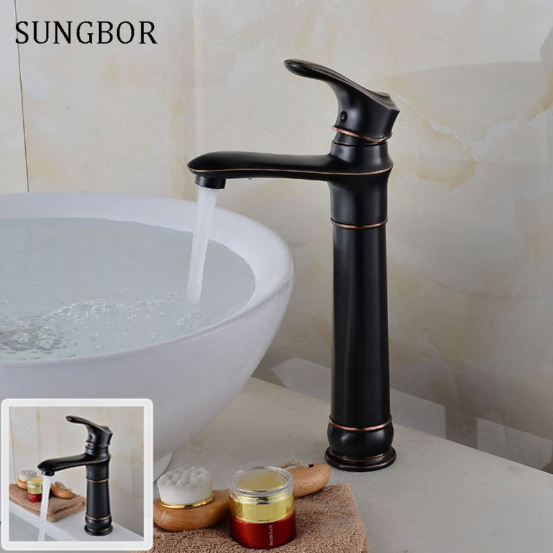 Brass Single Handle Black Basin Faucet Deck Mounted Countertop Bathroom Basin Sink Mixers with Hot and