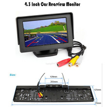 Koorinwoo Parking Set EU European 4 IR Infrared Car rear view camera license plate frame camera with 4.3 Inch TFT Monitor Screen