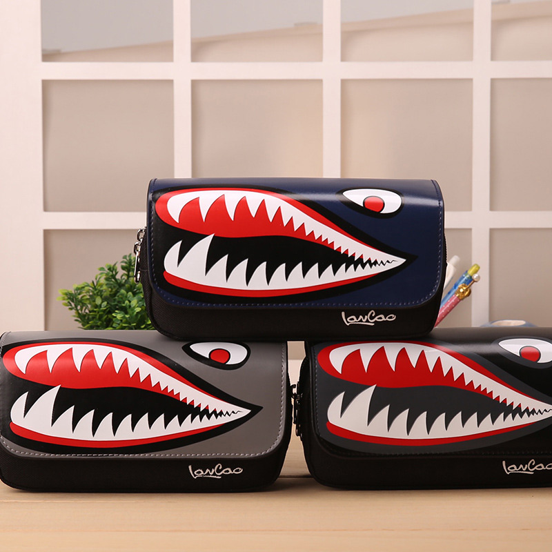 Boys Girls Personality Stationery Creative Shark Large Capacity School Pencil Case Pencil Bag Pen Box Office Makeup Bag Cosmetic big capacity high quality canvas shark double layers pen pencil holder makeup case bag for school student with combination coded lock
