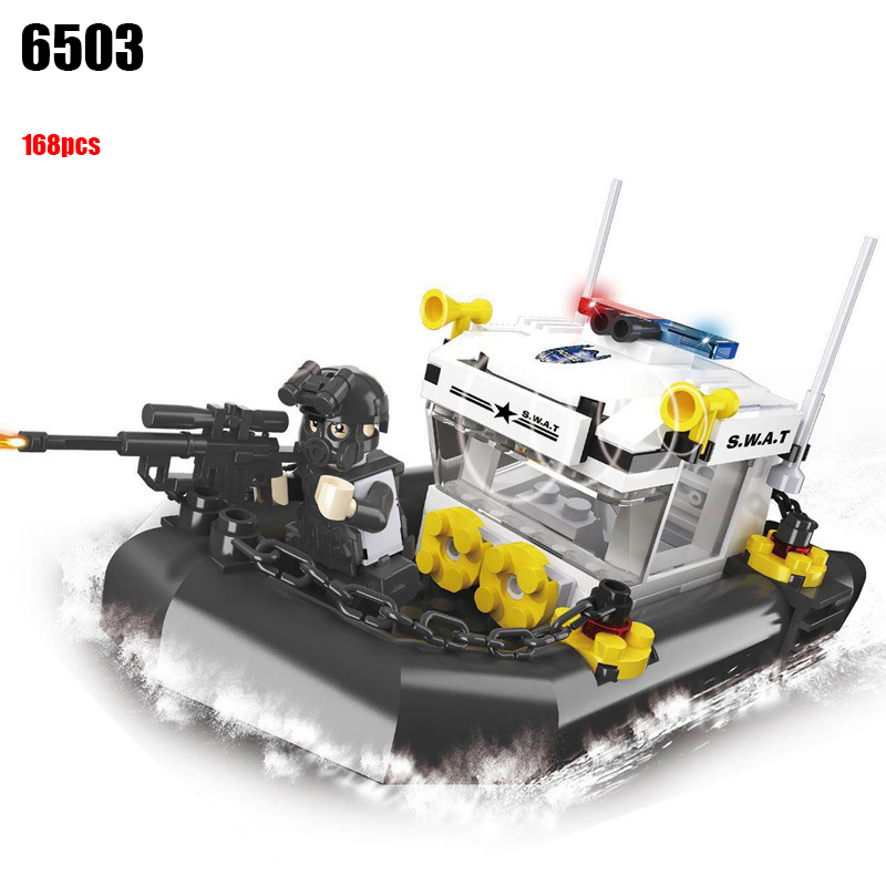 Police station SWAT Boat Military Series 3D Model building blocks citys Boy DIY Bricks Toy hobbies Gift military swat team city police armed