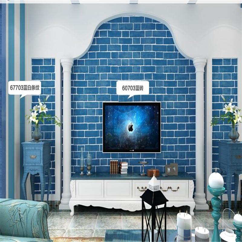 beibehang Mediterranean blue brick pattern non - woven wallpaper 3D thick brick living room restaurant TV background wallpaper beibehang blue wallpaper non woven
