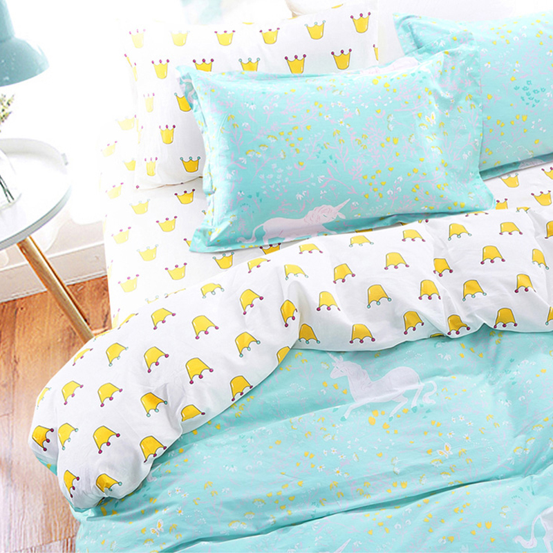Bedclothes Cotton Kawaii Crown Unicorn Bedding Set Teen Twin Full Double  Queen Single King Size Duvet Cover Set Cute Bed Set In Bedding Sets From  Home ...