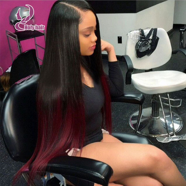 Ombre Red 8a Virgin Hair Wigs Straight Side Part Long Lace