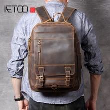 AETOO Vintage mad horse leather large capacity backpack, head leather shoulder bag, leather computer bag