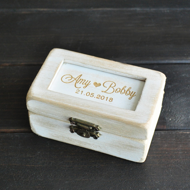 f2d4d0f6f2 Personalized White Wood Ring Box Rustic Wedding Ring Bearer Pillow Wedding  Ring Holder Bridesmaid Gift Box
