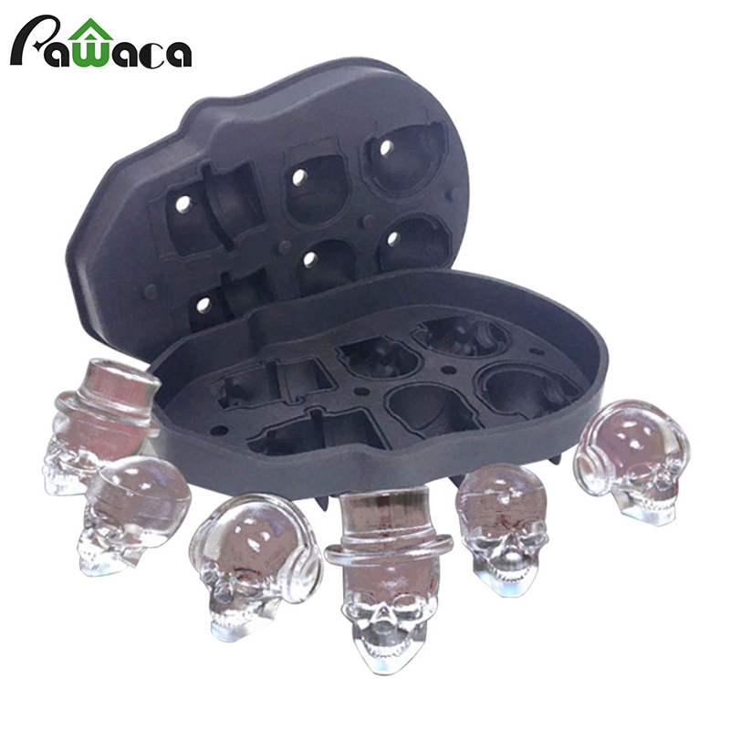 3D Skull Ice Cube Mold for Whiskey Wine Cocktail Juice Silicone Ice Cube Tray Maker Beverages Kitchen DIY Cake Ice Cream Tools