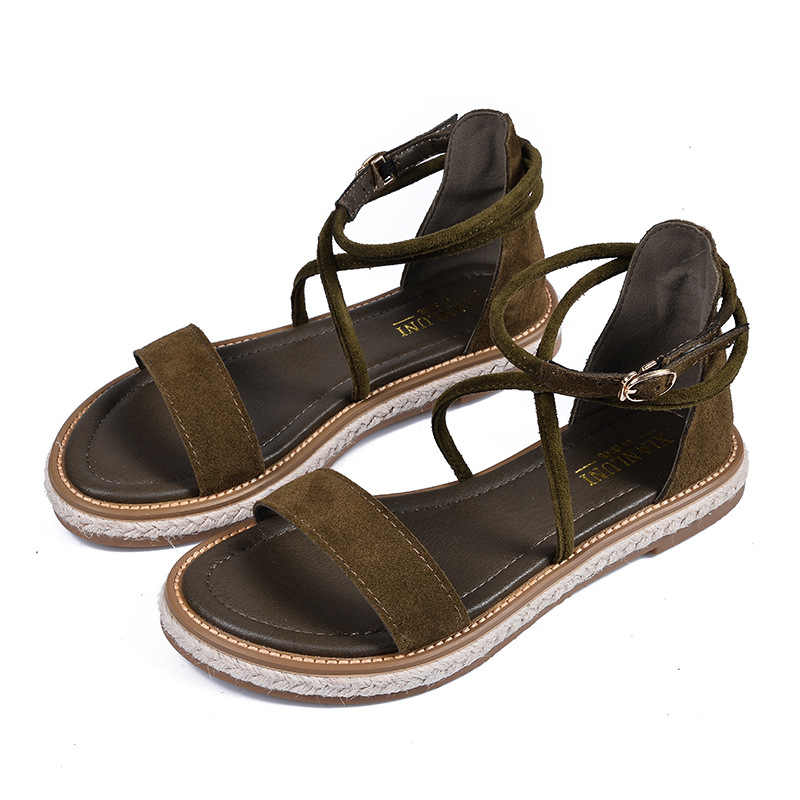 genuine leather roman sandals new cross-tied gladiator sandalias women buckle belt plus size 40 41 42 open toe platform sandals
