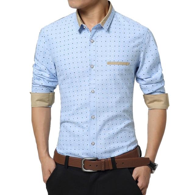 Size M-5XL Polka Dot Print Light Blue Contrast Color Collar Men Formal  Business Shirts