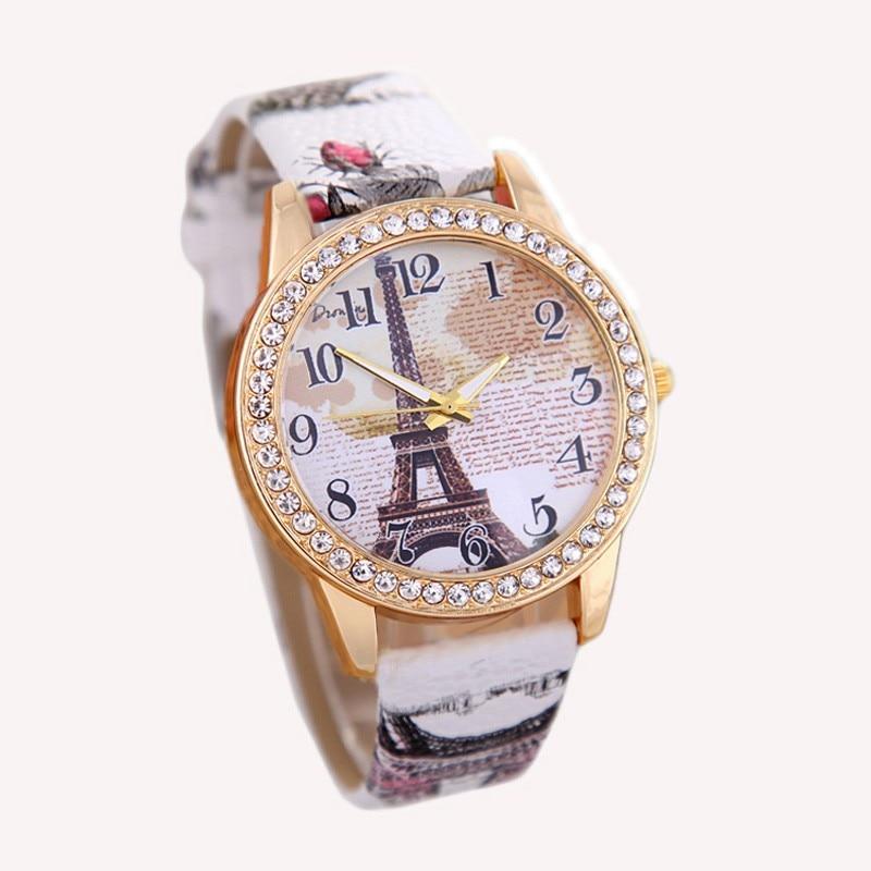 Fashion Eiffel Tower Quartz Vintage Leather Retro Wrist Women Students Watch 1