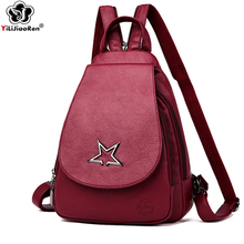 купить Fashion Metal Stars Backpack Female 2019 Brand Leather Backpack Large Capacity School Bag For Teenage Girls Travel Backpacks по цене 1582.59 рублей