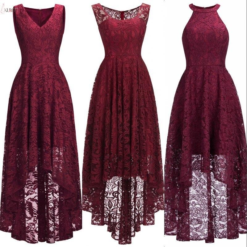 3 Styles 2019 Sexy Burgundy Lace Short Evening Dress V Neck Sleeveless Evening Gown Robe De Soiree