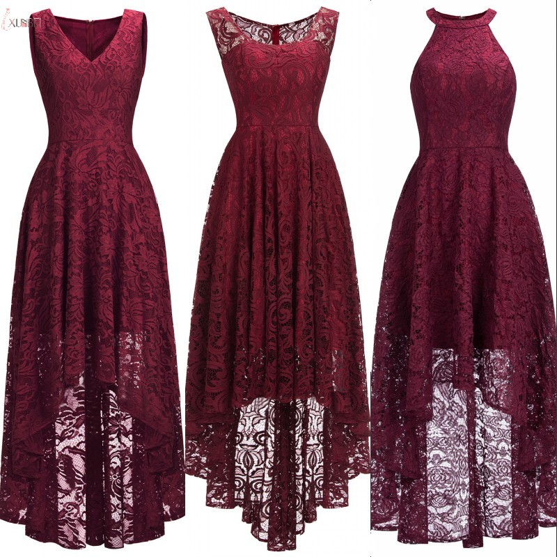 3 Styles 2019 Sexy Burgundy Lace Short   Evening     Dress   V Neck Sleeveless   Evening   Gown robe de soiree