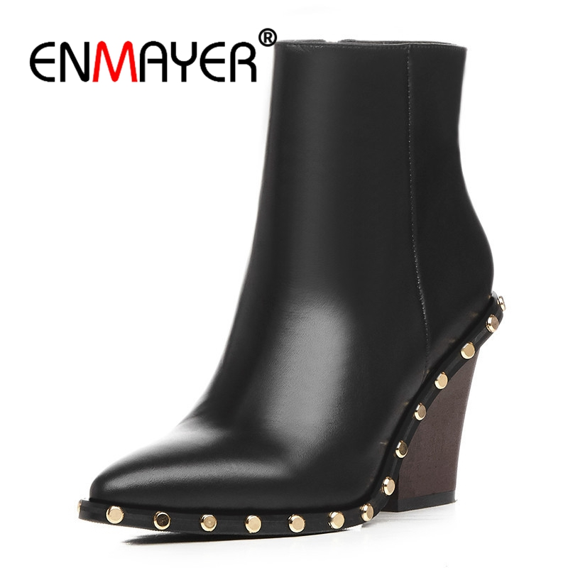 ENMAYER Pointed Toe Ankle Boots Women Short Shoes Size 34-39 Rivets Metal High Heels Ankle Boots Thick Heels Fashion Boots CR726 enmayer shoes woman supper high heels ankle boots for women winter boots plus size 35 46 zippers motorcycle boots round toe