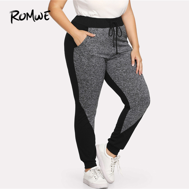 Romwe Sport Plus Size Black and Grey Drawstring Women Fitness Running  Tights 2018 Gym Running Sport 7eb6d1cfa713