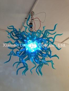 Grosir Modern Kamar Tidur Dekorasi Pencahayaan LED Sumber Cahaya Gaya Biru Tangan Ditiup Murano Kaca Murano Lampu Gantung