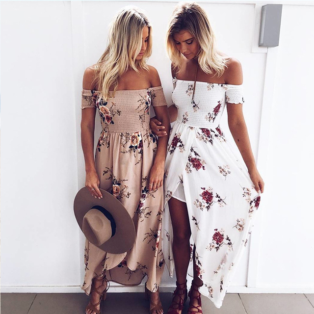 Women Maxi Dress Summer Casual Chiffon Floral Print Bohemian Beach Dresses Sexy Off Shoulder Strapless Long Dress LDF700