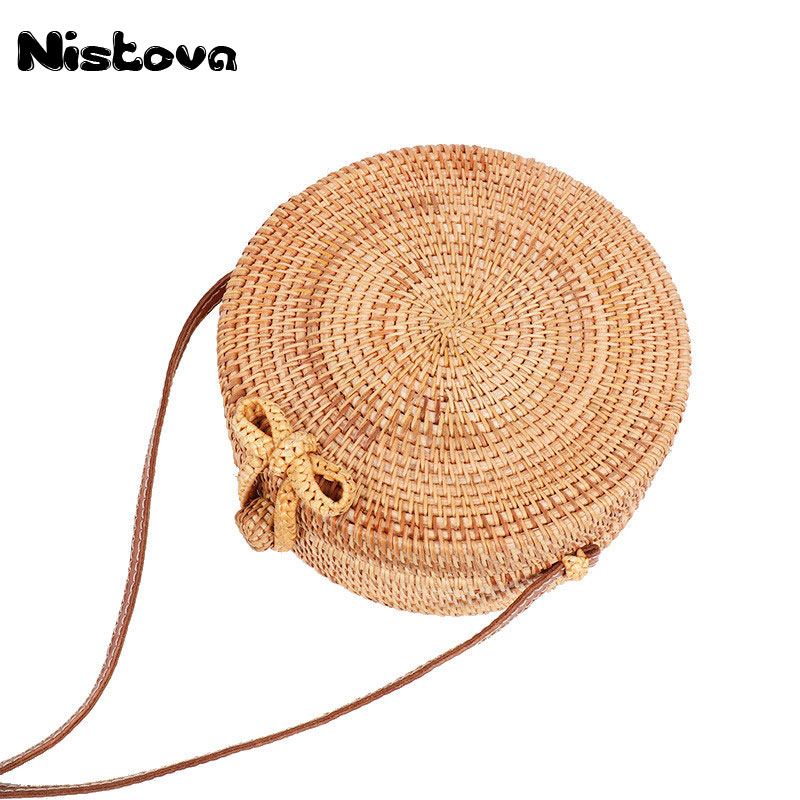 все цены на Round Butterfly Buckle Rattan Straw Bags Bali Island Hand Women Bag Satchel Wind Bohemia Beach Circle Shoulder Bag Handbag